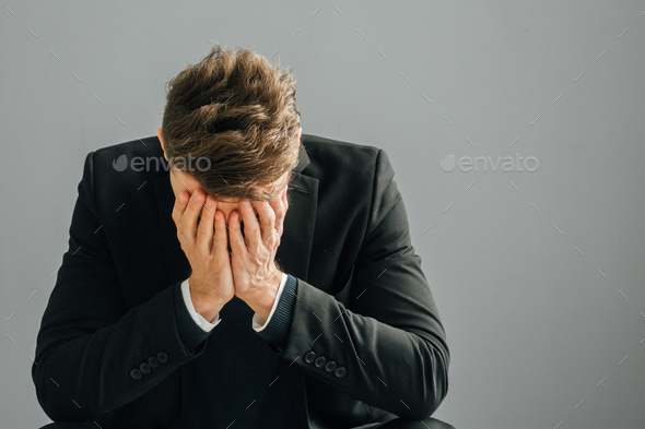 Business man stress tired portrait - Stock Photo - Images
