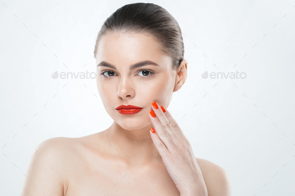 Red nails and lips model woman isolated on white. Color makeup - Stock Photo - Images