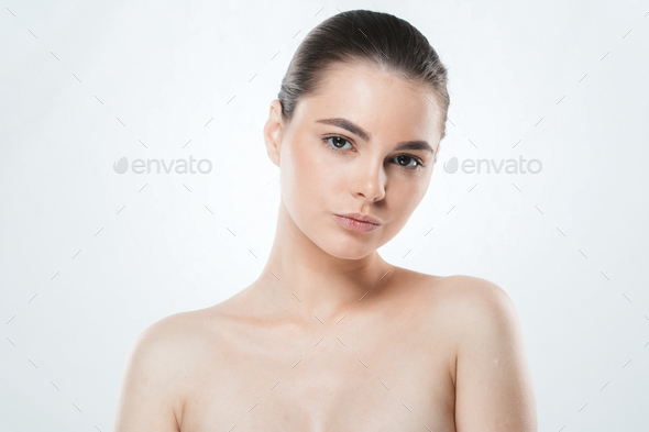 Woman skin face , beautiful healthy skin care female portrait, clean face without makeup. - Stock Photo - Images