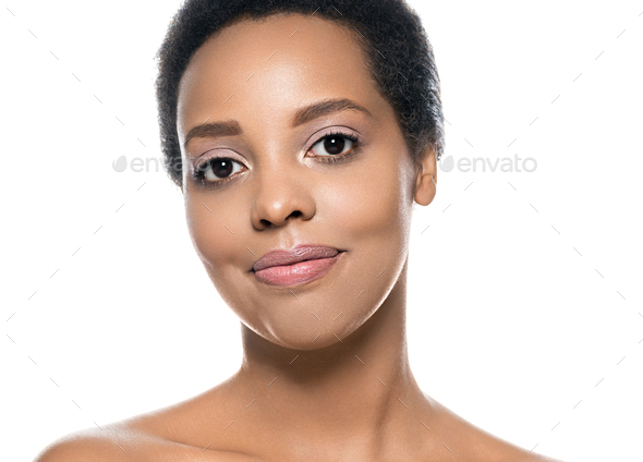 Black skin beauty woman pure natural skin afro girl isolated on white - Stock Photo - Images