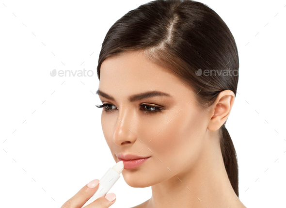 Woman lip balm lips care concept, beauty female portrait with healthy skin - Stock Photo - Images