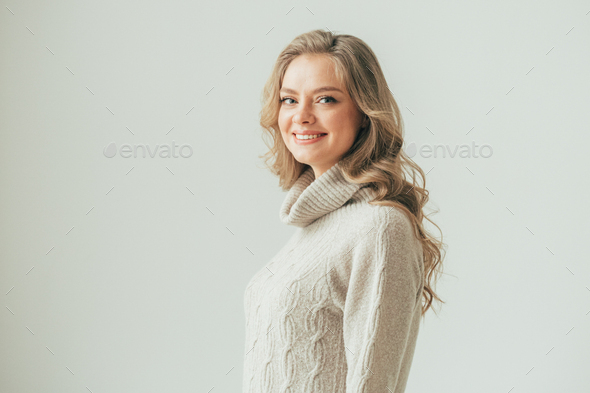 Beautiful woman with long blonde hair natural portrait - Stock Photo - Images