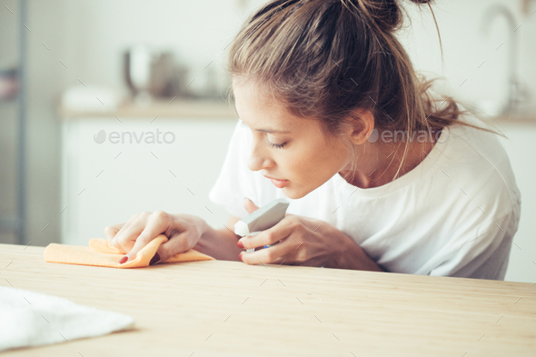 Woman cleaning house, housework female portrait - Stock Photo - Images