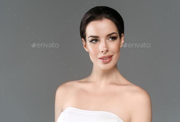 Beautyful skin care woman, beauty concept healthy face makeup, female model portrait. Spa model. - Stock Photo - Images
