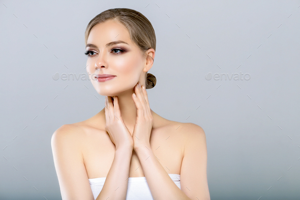 Female skin care portrait. Healthy skin woman woth blonde hair and beauty makeup. - Stock Photo - Images