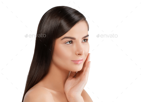 Woman with skin healthy soft and beauty, skincare concept. - Stock Photo - Images