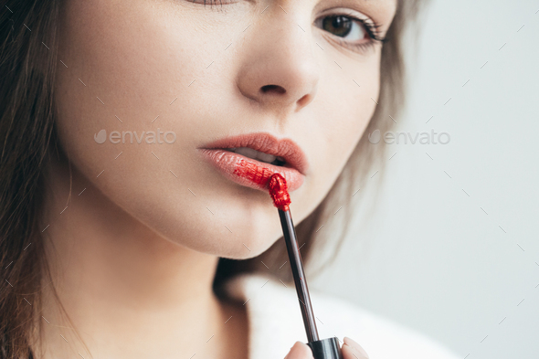 Woman lipstick makeup portrait. Beautiful female with red pink lips. - Stock Photo - Images