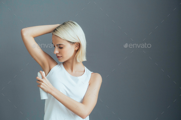 Deodorant spray woman portrait - Stock Photo - Images
