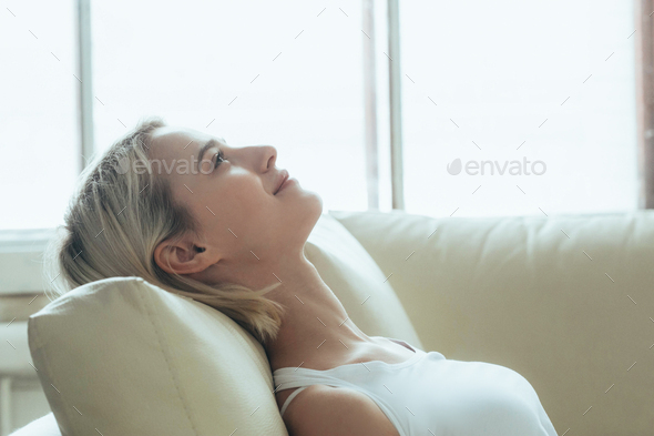 Happy woman relax home alone. Casual natural female portrait home - Stock Photo - Images