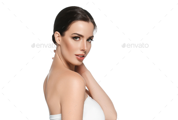 Beautyful skin care woman, beauty concept healthy face makeup, female model portrait. Spa model - Stock Photo - Images