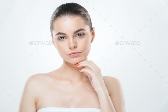 Woman skin face , beautiful healthy skin care female portrait, clean face without makeup - Stock Photo - Images