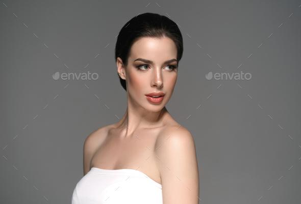 Beautyful skin care woman, beauty concept healthy face makeup, female model portrait. - Stock Photo - Images