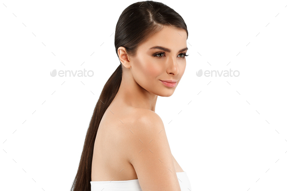 Woman with skin healthy soft and beauty, skincare concept - Stock Photo - Images