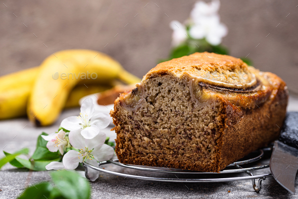 Banana bread or loaf cake - Stock Photo - Images