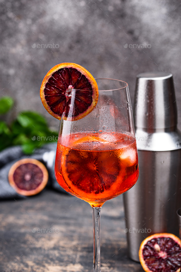 Aperol spritz cocktail with blood orange - Stock Photo - Images