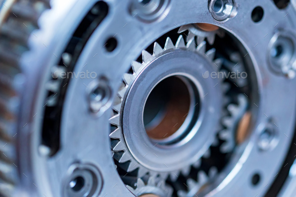 Close-up helical gears in car automatic transmission - Stock Photo - Images