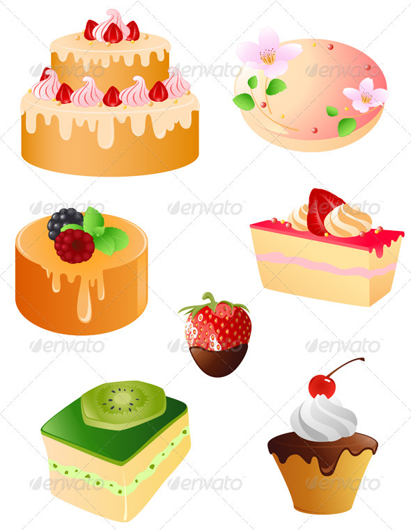 Set of Sweet Dessert  Icons - Food Objects