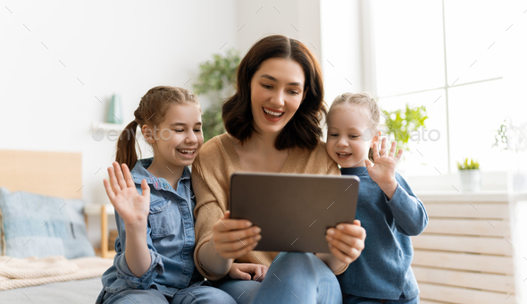 family are talking with friends - Stock Photo - Images