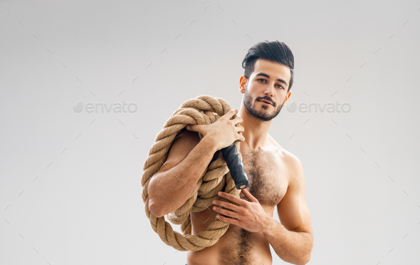 young man doing crossfit exercises - Stock Photo - Images