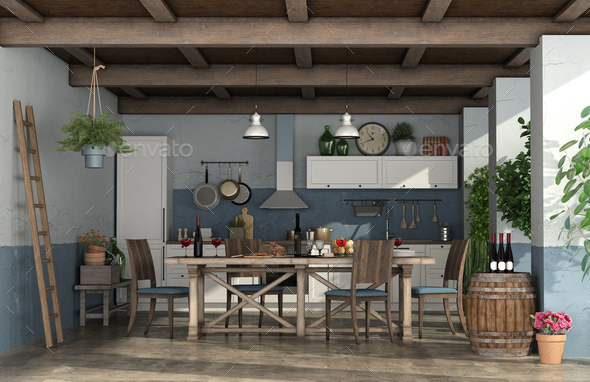 Old veranda with kitchen in rustic style - Stock Photo - Images