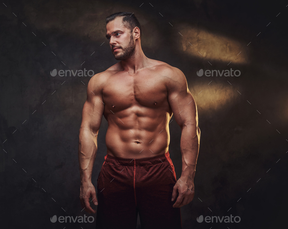 Portrait of attractive naked bodybuilder - Stock Photo - Images