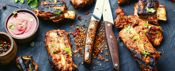 Delicious fried ribs - Stock Photo - Images