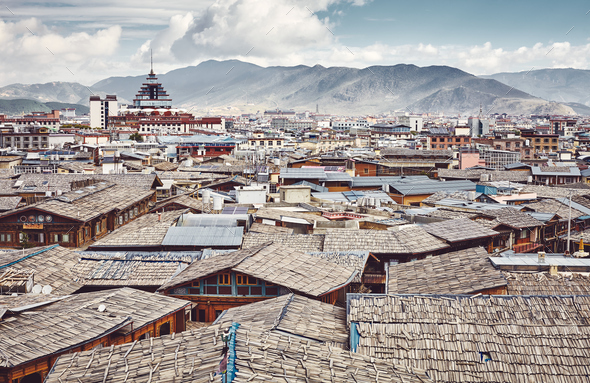 Roofs of Dukezong, Shangri La old town skyline, China. - Stock Photo - Images