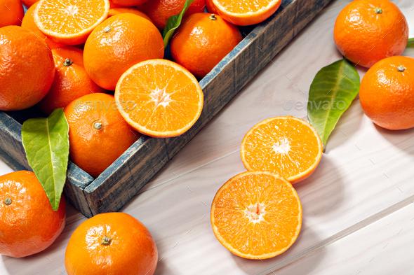 Fresh tangerine fruits - Stock Photo - Images