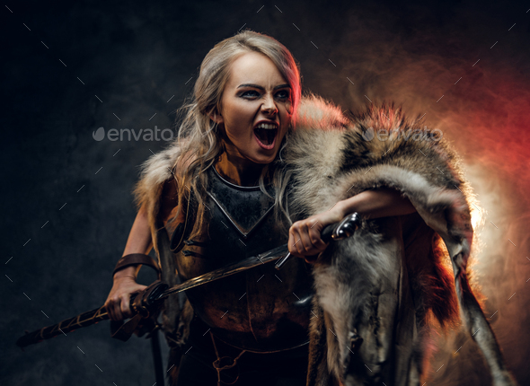 Fantasy woman knight wearing cuirass and fur - Stock Photo - Images