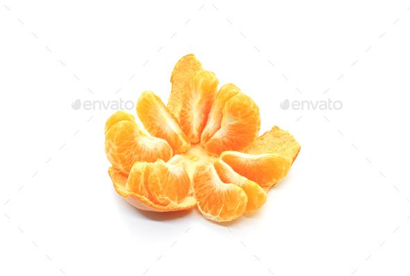 Tasty tangerine slices, isolated on white background - Stock Photo - Images