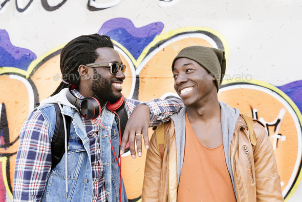 Two black race friends having fun. - Stock Photo - Images