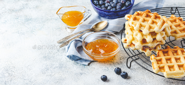 Home made Belgian waffles served with berries - Stock Photo - Images