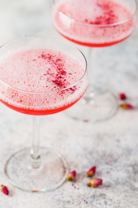 Pink Raspberry Cocktail in drink glass - Stock Photo - Images