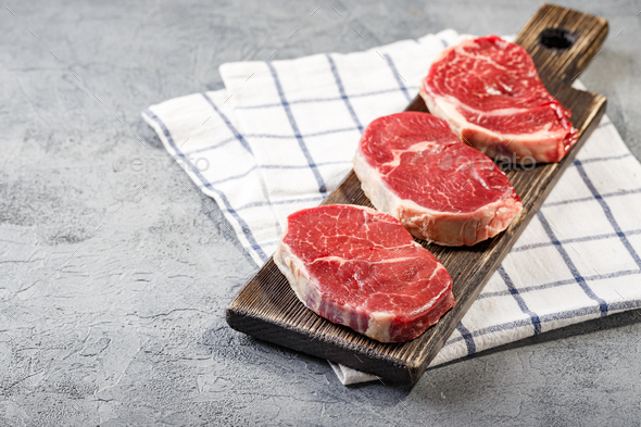 Shoulder cut, suitable for grilling and pan. - Stock Photo - Images