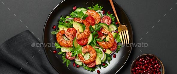 Shrimps salad - Stock Photo - Images