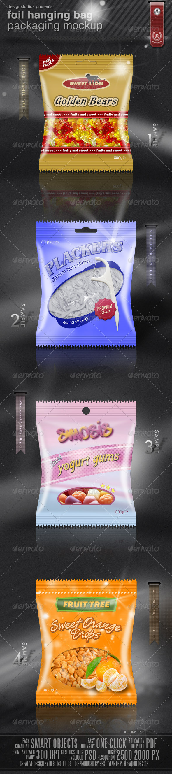 Foil Hanging Bag Packaging Mock-Up - Food and Drink Packaging