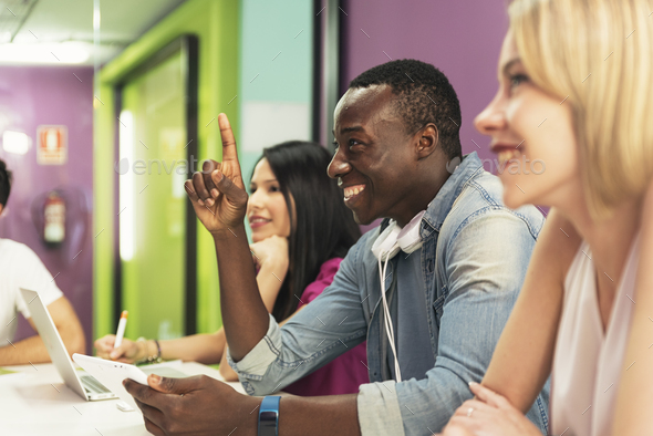 A students group learning at school academy. - Stock Photo - Images