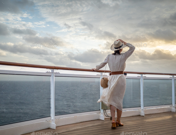 A young girl in a sea cruise - Stock Photo - Images