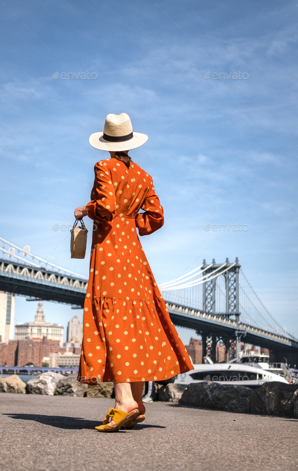 Attractive woman at the Manhattan Bridge - Stock Photo - Images
