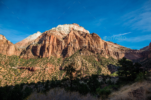 Mountain road in Zion National Park in the fall - Stock Photo - Images