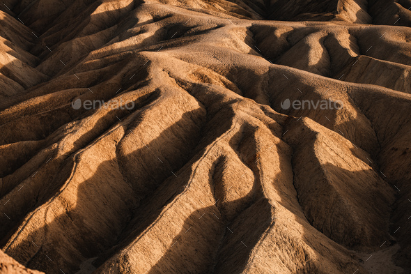 Sci-Fi Mars looking Rocky landscape background at Zabriskie Point, Death Valley NP, California - Stock Photo - Images