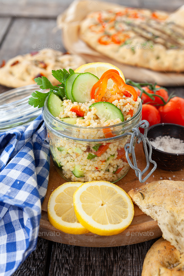 Pearl couscous salad - Stock Photo - Images