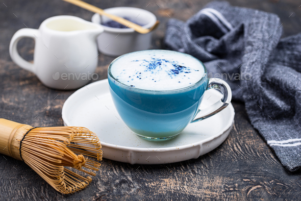 Blue matcha latte with milk - Stock Photo - Images