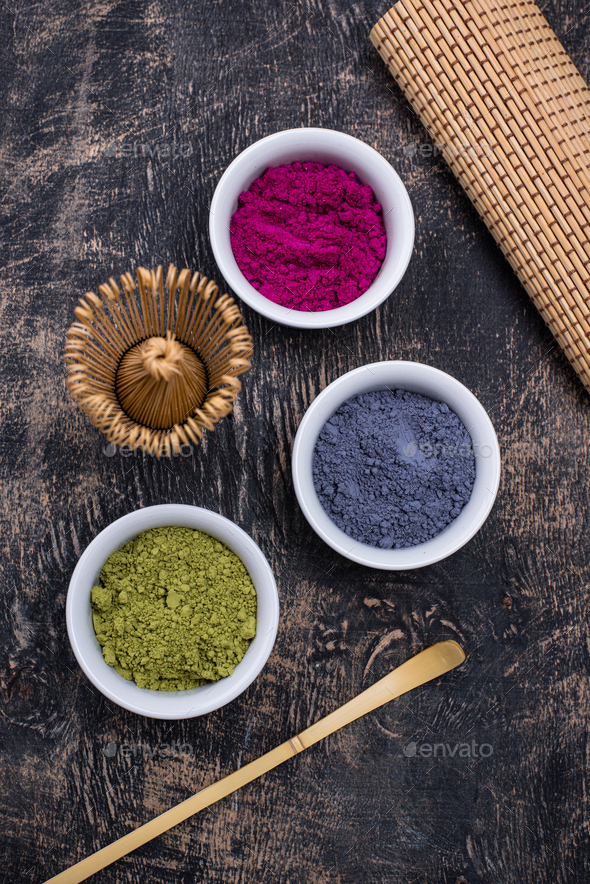 Green, blue and pink matcha powder - Stock Photo - Images