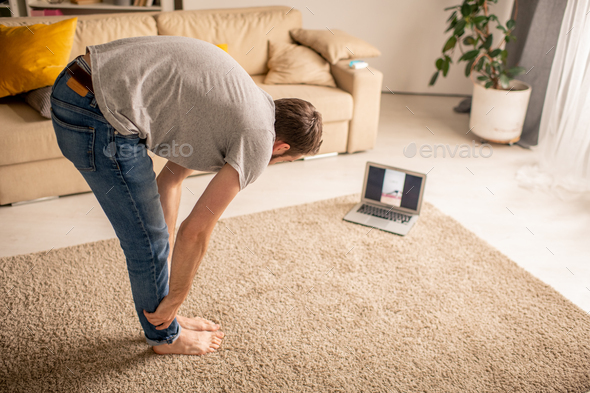Doing exercises at home isolation - Stock Photo - Images
