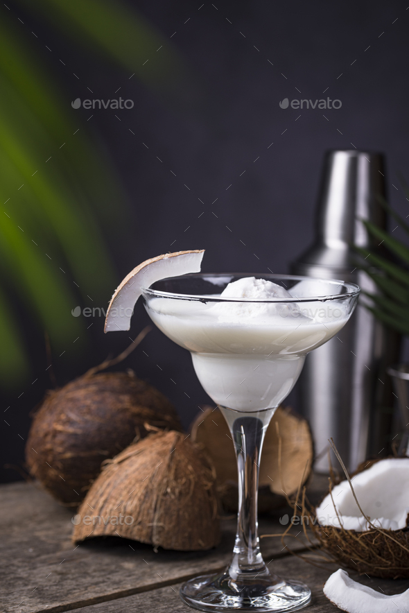 Coconut Margarita cocktail with ice cream - Stock Photo - Images