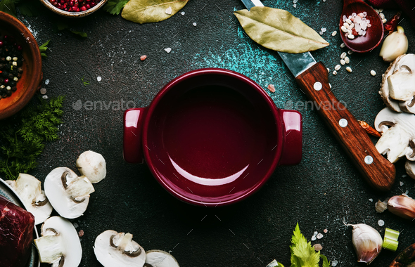 Fresh organic vegetables, ingredients, spices and meat for soup or broth - Stock Photo - Images