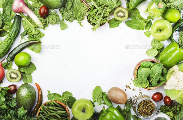 Variety of green vegetables and fruits. Healthy food clean eating: vegetable, seeds, superfood - Stock Photo - Images