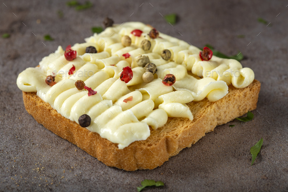 Open sandwich with cheese cream - Stock Photo - Images