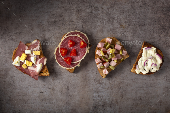 Set of open sandwiches - Stock Photo - Images